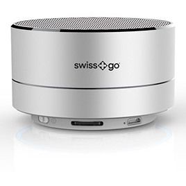 Altavoz Swiss+go Bluetooth Portatil - CLIO BT-001 Metalico Plata 3W, Luz LED, FM, MicroSD, Funcion manos libres, 72x42 mm