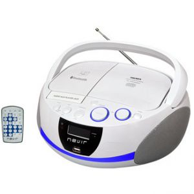 Reproductor portátil Nevir RADIO CD NVR-480UB BLANCO BLUETOOTH MP3 USB