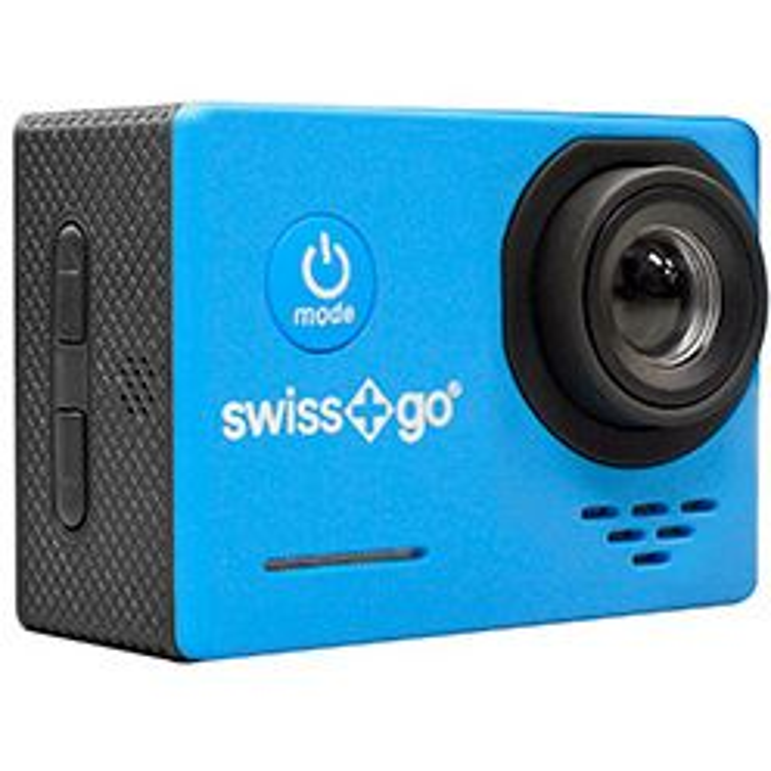 Cámara deportiva Swiss+go Camara Video Aventura - SG-1.0 FullHD Azul con Accesorios Pantalla 2