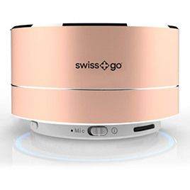 Altavoz Swiss+go Bluetooth Portatil - CLIO BT-001 Metalico Rosado 3W, Luz LED, FM, MicroSD, Funcion manos libres, 72x42 mm