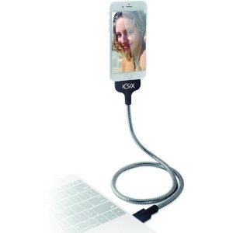 Cargador Contact L-CABLE DATOS/CARGA FLEXTEEL USB - MICRO USB 2.4A ACERO